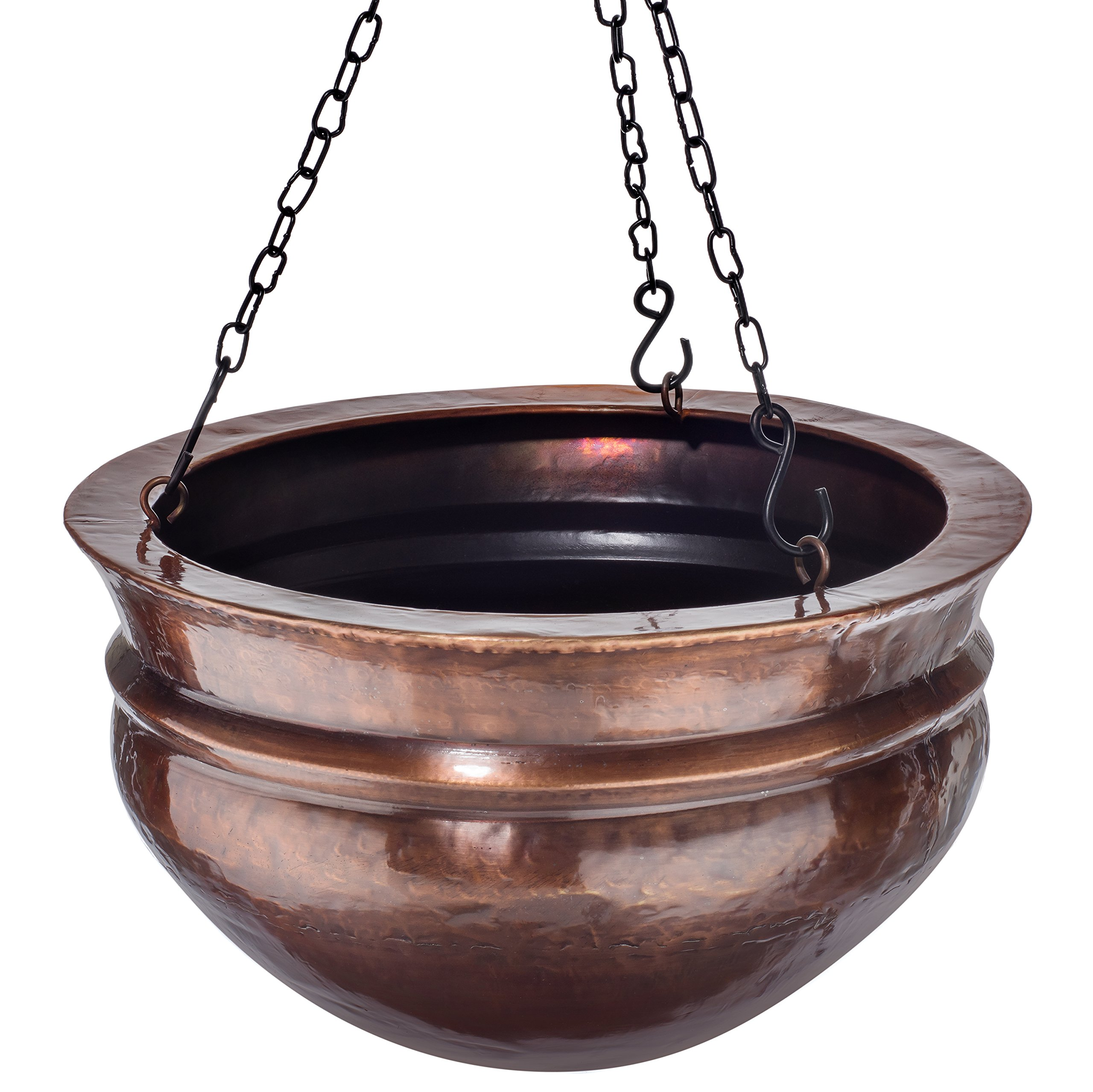 """H Potter Hanging Brass Planter with Antique Finish & Chain – Outdoor Small Plant Pot for Home Patio Deck Terrace Balcony Kitchen - 14"""" Diameter"""