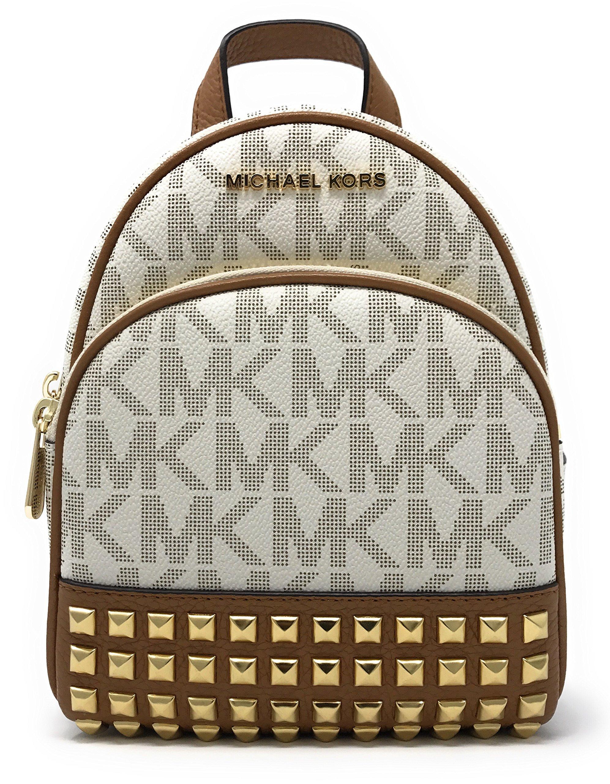 Michael Michael Kors Abbey Extra-Small Signature Studded Backpack Vanilla/Acorn