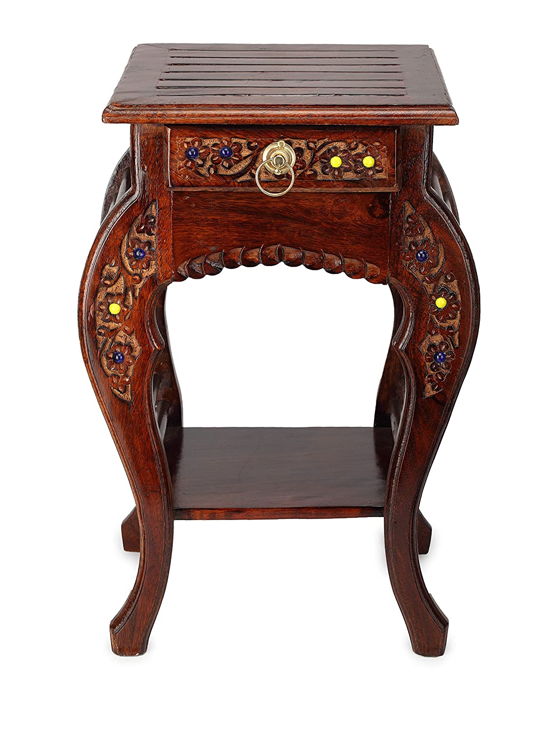 Onlineshoppee Wooden Hand Carved Side Table, Stool Antique Look: Amazon.in:  Home U0026 Kitchen