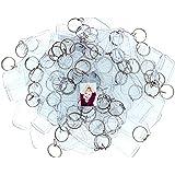100 Porte-Clés Photos Acrylique Transparent par Kurtzy - Porte Clé Vierge Translucide 5,4cm x 3,2cm - Compatibles Portefeuilles pour Cadres Photos Personnalisés - Pour Femmes et Hommes