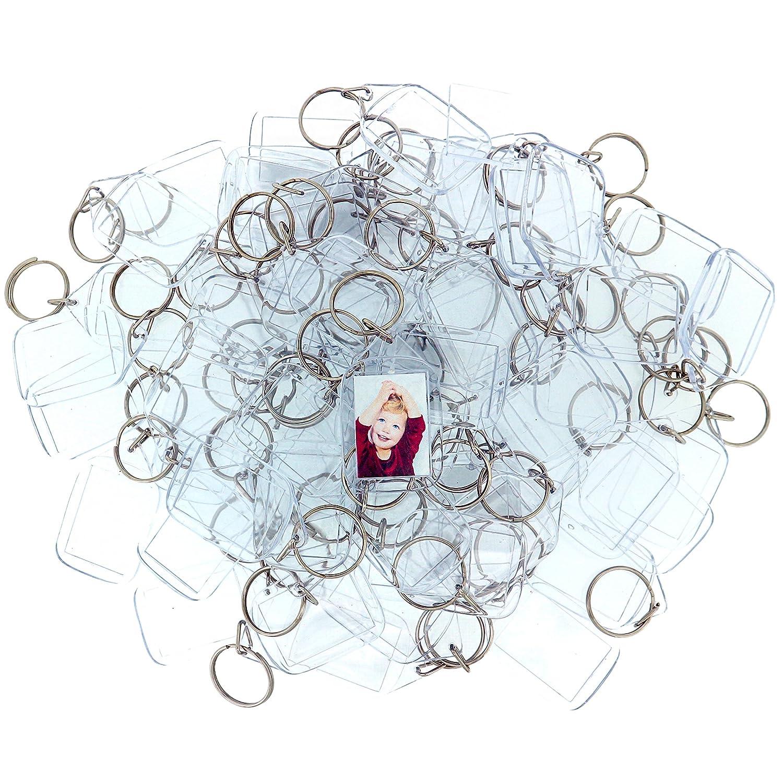Kurtzy 100 Transparente Acryl Foto Schlüsselanhänger 3.4 cm x 2.4cm Schlüsselring Rohlinge - Brieftaschen freundlicher Schlüsselring für Benutzerdefinierte Personalisierte Bilder - Frauen, Männer Männer MA-5035