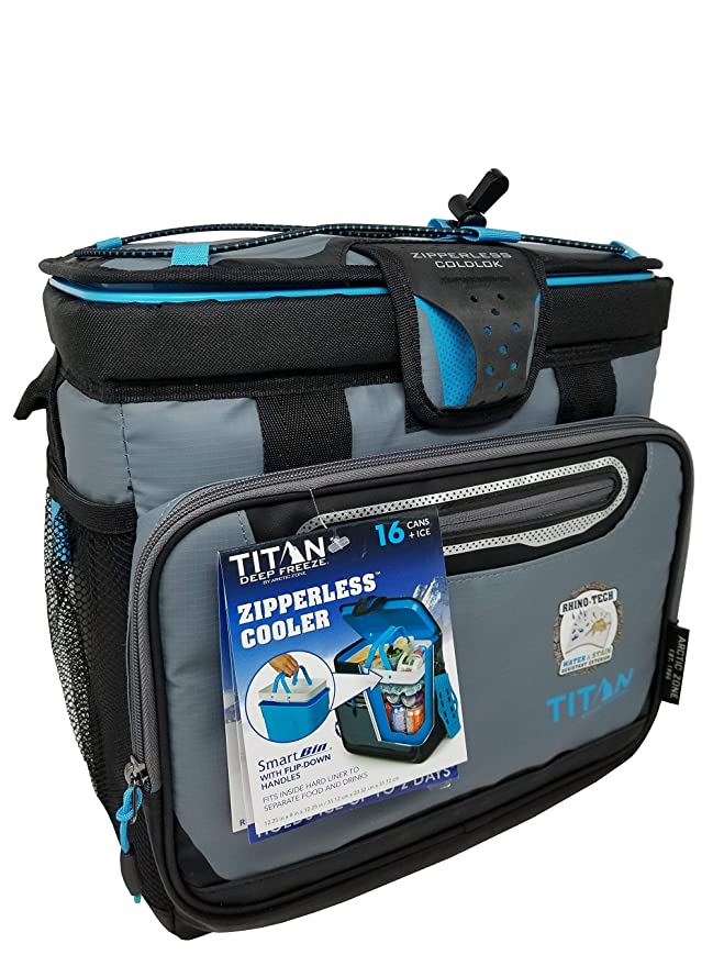 Titan Deep Freeze Zipperless Cooler Bag by Arctic Zone with Smart Bin - Gray