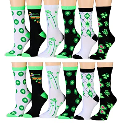 12 Pairs Of excell Ladies Saint Patrick Day Printed Socks, #STPatty