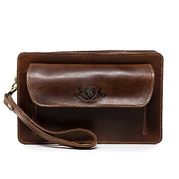 SID & VAIN® Bolso de muñeca Cornwall Bolso Bolso para Hombres Piel marrón