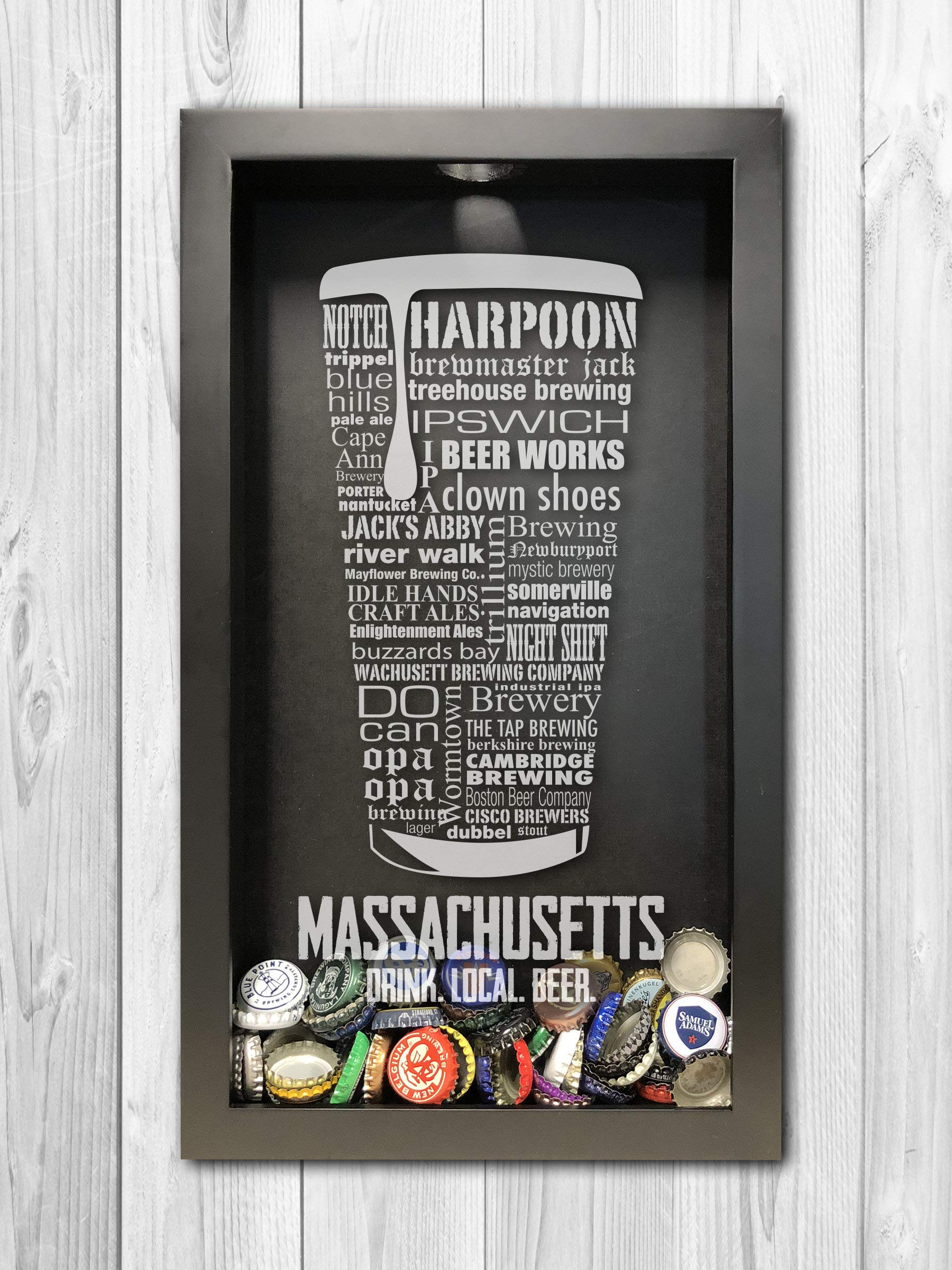 Massachusetts Craft Beer Typography Bottle Cap Shadow Box, Beer Cap Holder