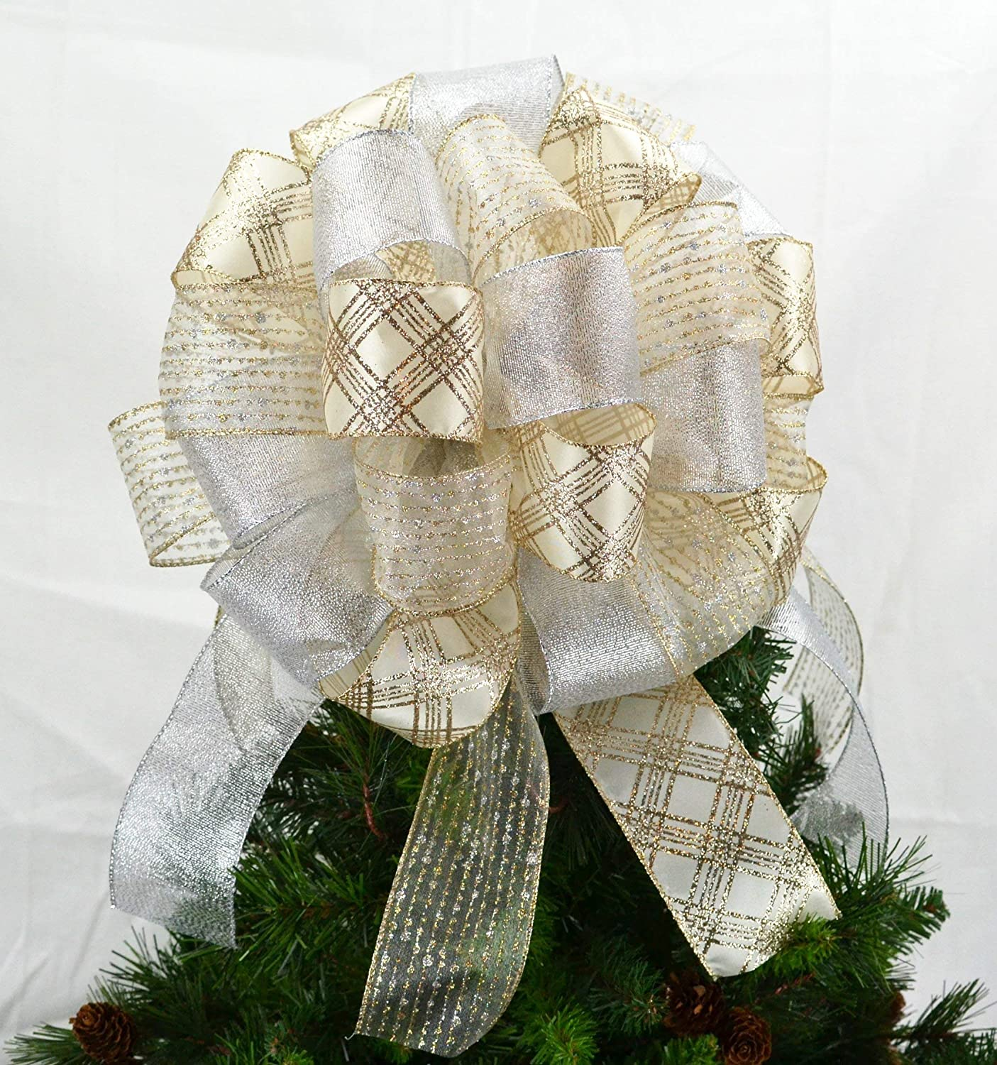 Gold and Silver Bow Tree Topper | Christmas Tree Bow | Gift Box Bow