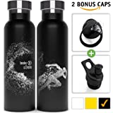 Stainless Steel Vacuum Insulated Double Walled Water Bottle + 2 BPA Free Sports Tops (1 W/Straw). Eco Friendly, Powder Coated, Sweat Proof 20 oz Thermos Bottle by Involve & Evolve