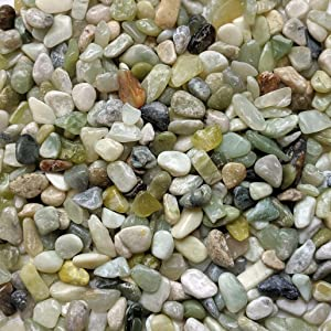 "Midwest Hearth Natural Decorative Polished Jade Pebbles 3/8"" Gravel Size (2-lb Bag)"