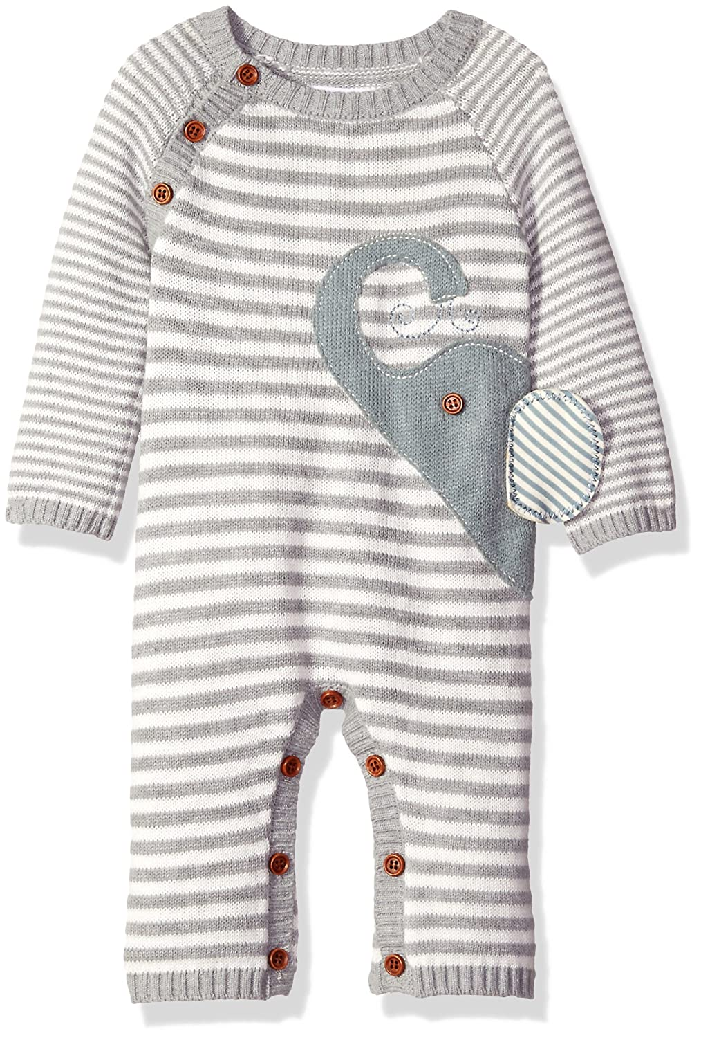 Mud Pie Unisex-Baby Baby ' Elephant Striped Sweater One Piece Playwear Gray 0-3 Months 1032283-03
