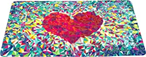 wizardry1986 Abstract Love Colorful Doormat Loving Heart Floor Mat with Non-Slip Backing Bath Mat Rug Excellent Home Decor 16 by 24 inches
