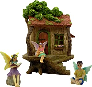 PRETMANNS Fairy Garden House Kit – Fairy Tree House with Accessories - 2 Girl Fairies and a Boy Fairy - Door can Open Wide - Fairy Garden Supplies 4 Pieces