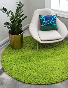Unique Loom Solo Solid Shag Collection Modern Plush Grass Green Round Rug (6' 0 x 6' 0)