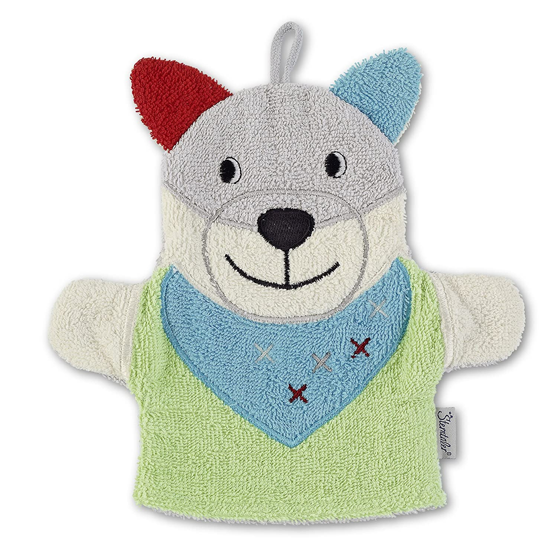 Sterntaler 7221402 Spiel-Waschhandschuh Wilbur aus Frottee mit Ohren und Schlaufe zum Aufhängen, 23 x 24 cm