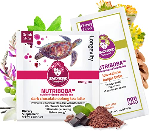 NUTRIBOBA Superfood Weight Loss FAIR-Trade Chocolate Latte, Antioxidant Mood Boost Organic Oolong Maca Mushrooms – Complete Vegan Protein Gluten-Free Meal Supplement, 10 Bubble Teas