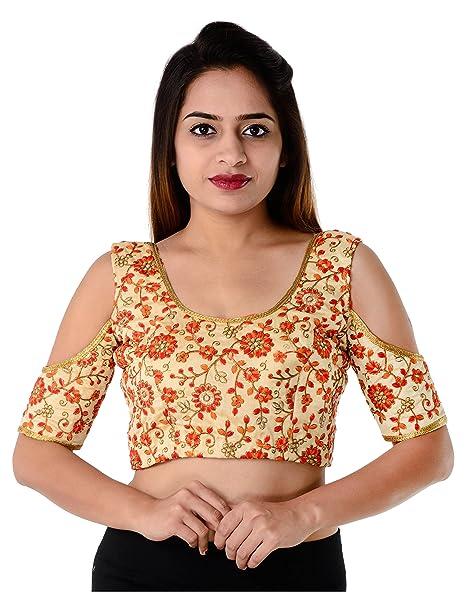 089522d893dd2d Pinal Fashion Women s Silk Brocade Fabric Saree Blouse  Amazon.in ...