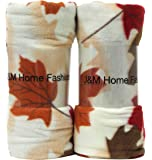 """J & M Home Fashions Harvest Fall Leaves Fleece Throw (2 Pack), 50"""" by 60"""""""
