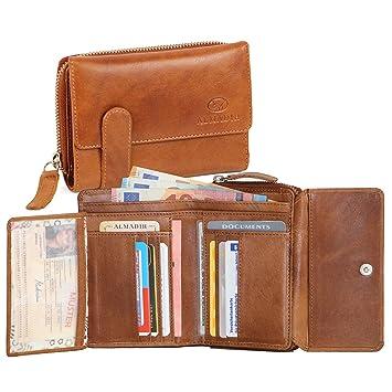 a0c141250d5a4 ALMADIH ® Kompakt Damen Portemonnaie EVE Premium Rindsleder - 15  Kartenfächer