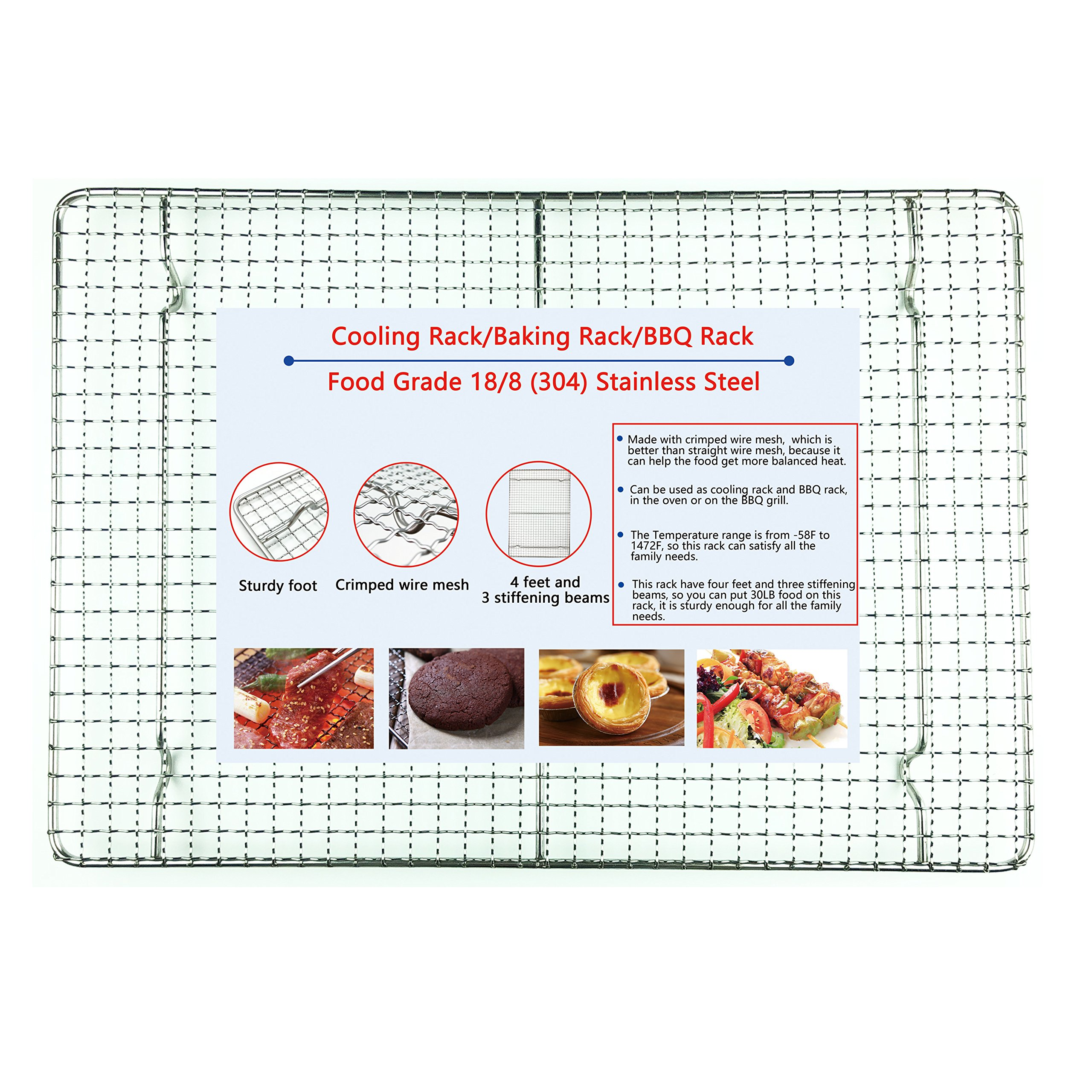 iAesthete Cooling Rack - 12x17 Inches - Food Grade 18/8 (304) Stainless Steel Crimped Wire, Open Fire and Oven Safe, Multiple Functions, BBQ Rack, Baking Rack, 4 Feet With 3 Stiffening Beams