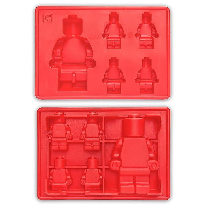 Juego de 3 moldes de silicona para niños para hacer cubitos de hielo, gelatina, dulces o decoración de pasteles. Moldes con diseño de robot y bloques de ...