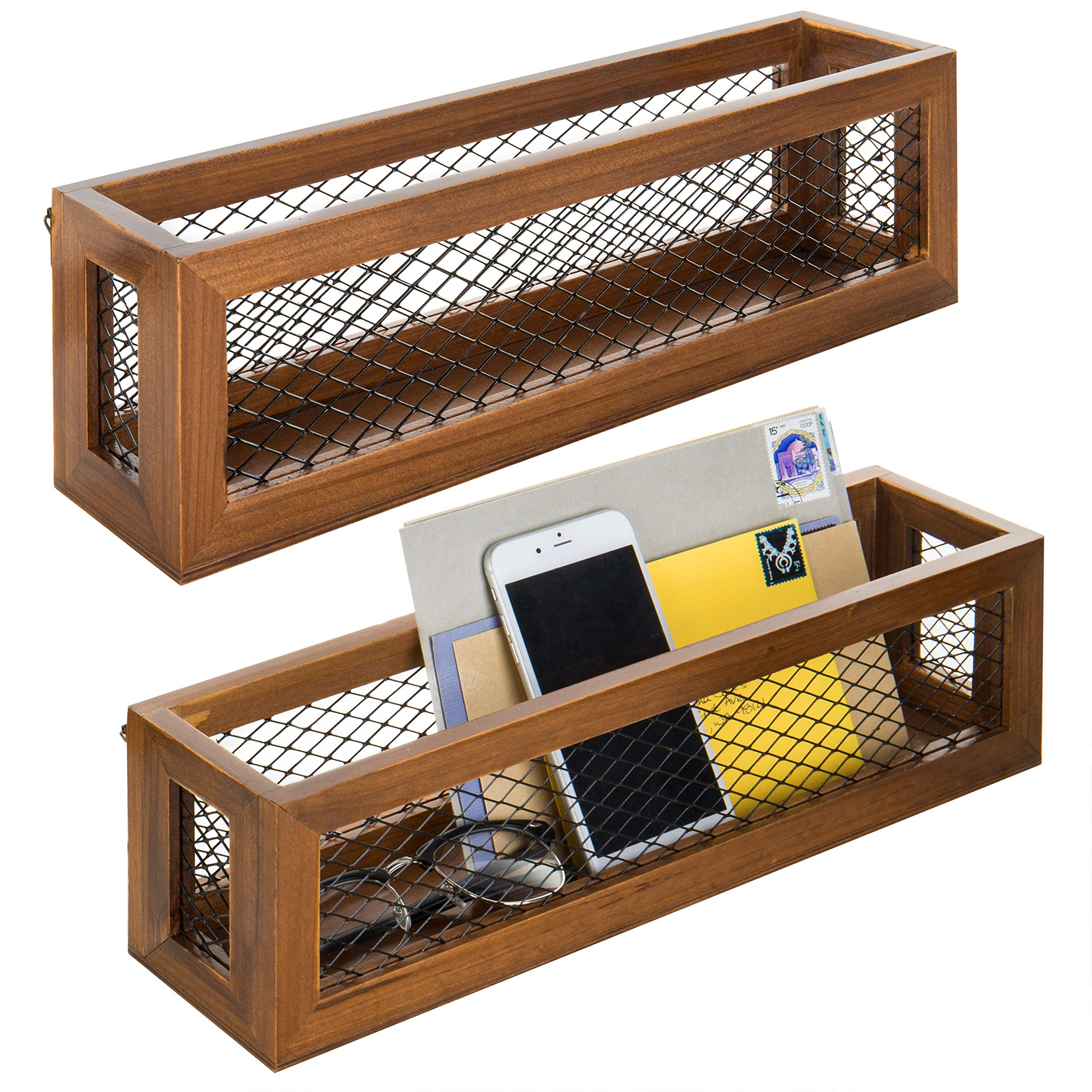 MyGift 16-Inch Burnt Wood & Chicken Wire Floating Box Shelves, Set of 2