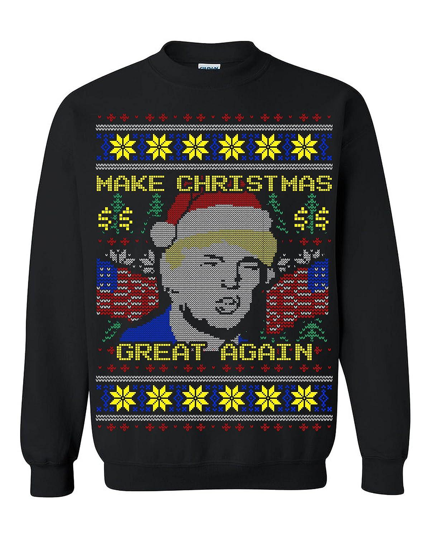 Foute Kersttrui Led.Amazon Com Donald Trump Make Christmas Great Again Ugly Christmas