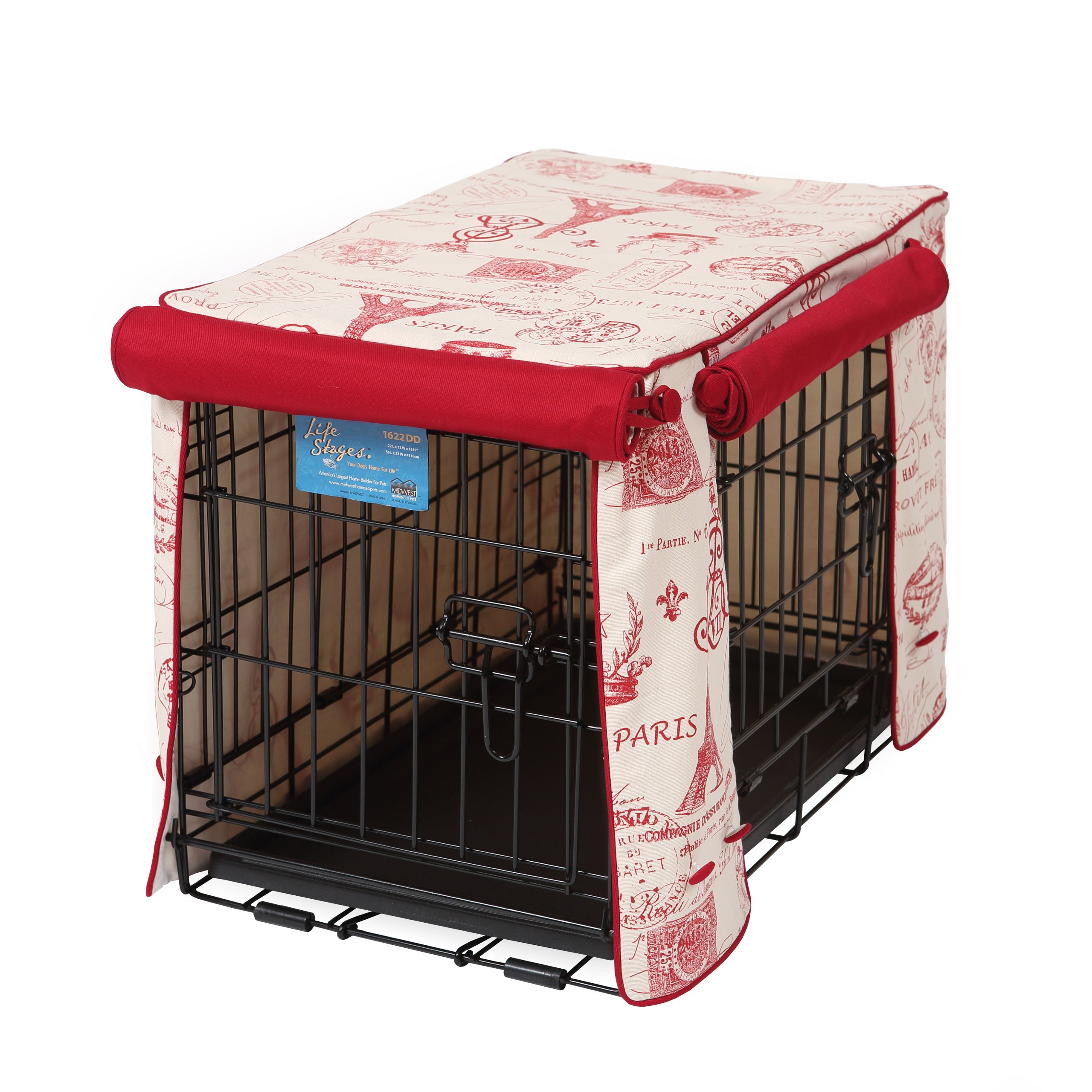Crate Covers and More Double Door 48 Pet Crate Cover, Parisian Red with Simply Red Twill