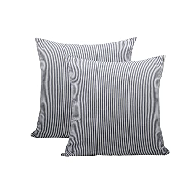 CANIRICA Pack of 2,100% Cotton Soft Striped Decorative Throw Pillow Covers with Invisible Zipper Cushion Protectors Cases for Sofa Bed 18x18 Inches(Navy Blue,45x45cm)