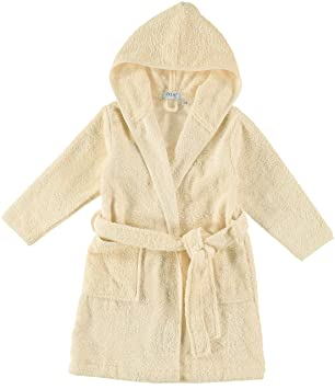 Made in Turkey Natemia Organic Hooded Bathrobe for Babies and Toddlers Ultra Soft and Absorbent GOTS Certified Turkish Cotton Kids Robe