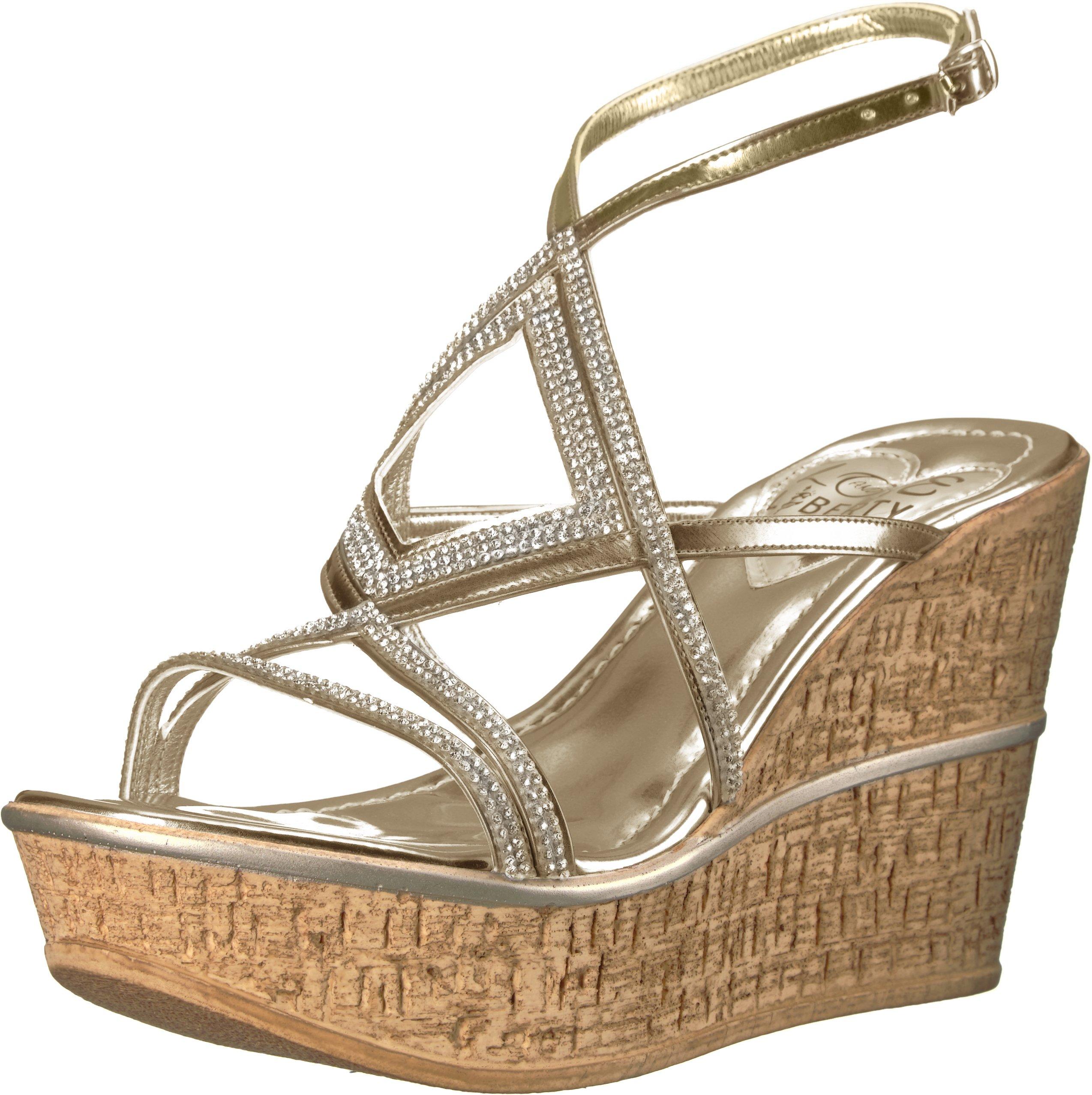 Love & Liberty Women's Selina-Ll Wedge Sandal, Platinum, 9 M US
