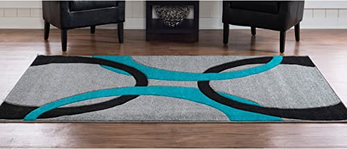 Kids Rug in Grey and Turquoise 7 ft. 7 in. L x 5 ft. W 19 lbs.
