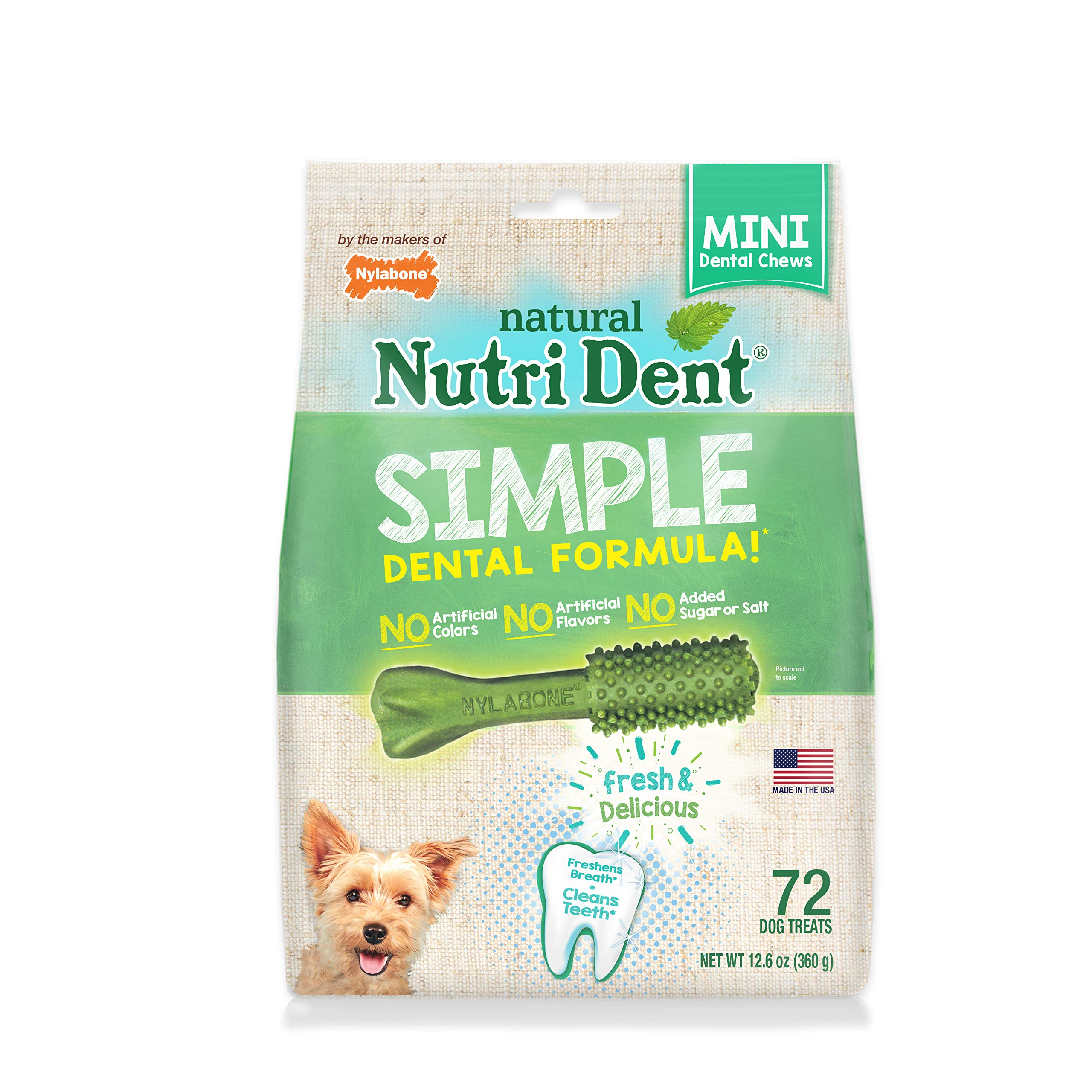 Nylabone Nutri Dent Original Minichews For Mini Dogs, 72-Count Pouch, Green