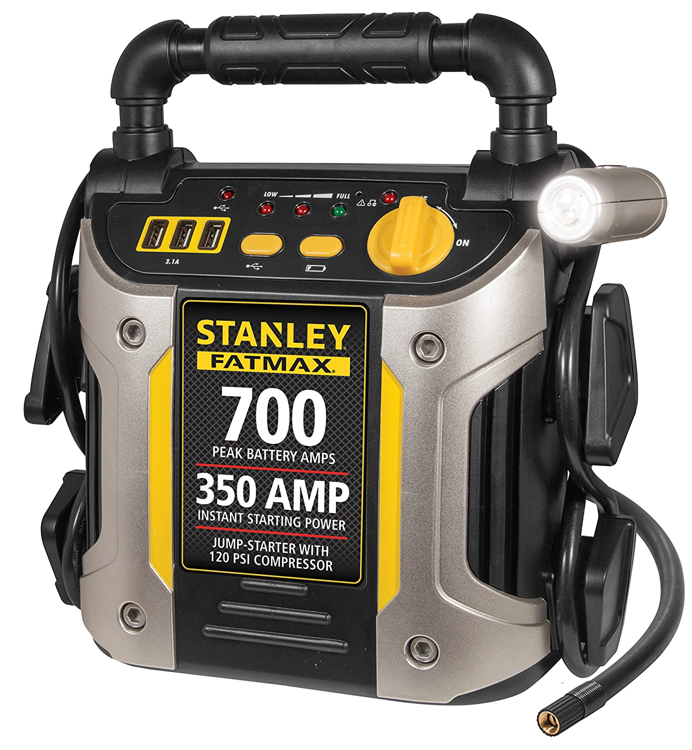 STANLEY FATMAX J7CS Power Station Jump Starter: 700 Peak/350 Instant Amps, 120 PSI Air Compressor, Battery Clamps