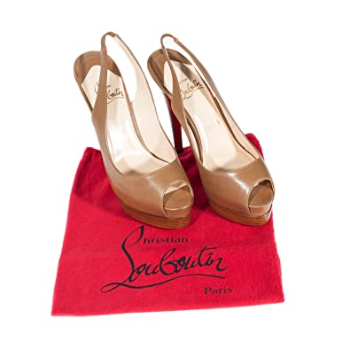 Christian Louboutin Women s Peep-toe Slingback Brown Sandals Size EU 37.5   UK 4.5 13c842230