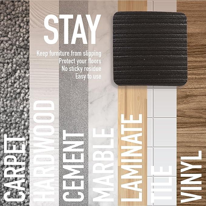 Stay! Furniture Pads, Square Furniture Grippers, Gripper Pads, Furniture Pads for Hardwood Floors and Carpet, Anti-Slip, Black, Set of 4 (2 inch)
