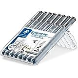 Staedtler 8 Pigment Liner Fineliner Pens with Assorted Line Width - Black