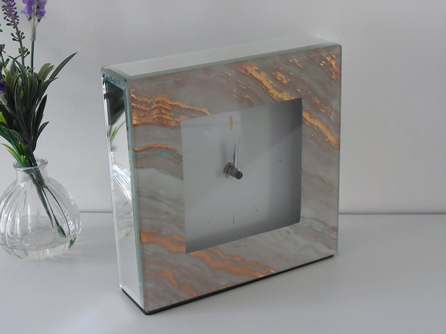 Square Marble Contemporary Grey & Pink Glass Bedside Mantle Clock (Pink) SIL