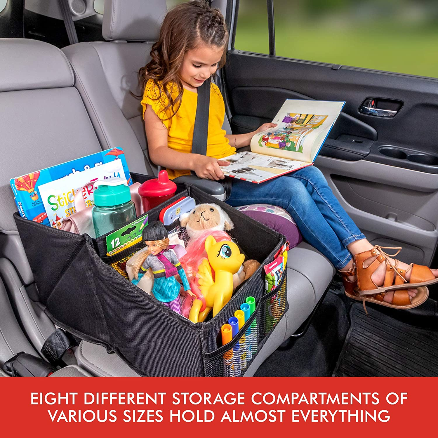 Documents Books Magazines Tissues Lusso Gear Car Seat Organizer for Front or Backseat with Black Stitching Great for Adults /& Kids Featuring 9 Storage Compartments for Toys Maps Games /& More