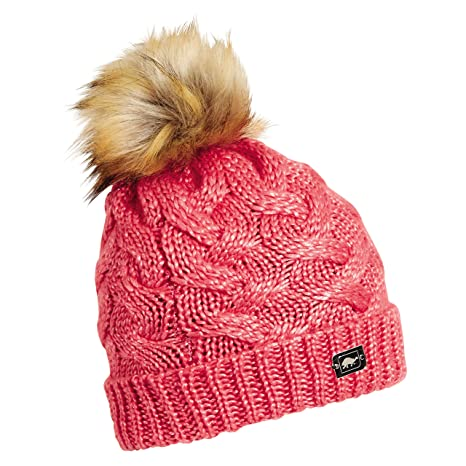 b3b12348122 Turtle Fur Glamper Women s Fleece Lined Cable Knit Hat w Faux Fur Pom Coral