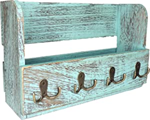 Wooden Wall Mount Mail Holder Organizer – Rustic Key Holder Organizer for Wall – Magazine Holder with 4 Double Key Hooks – Rustic Blue Wall Décor for Entryway