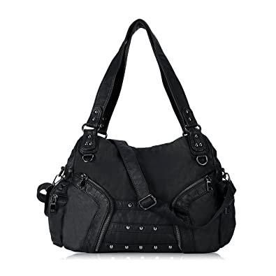 9688886bf3d Image Unavailable. Image not available for. Color  Women Handbag Soft Leather  Purse Large Capacity Tote Bag Crossbody Shoulder Bag for Ladies (BLACK