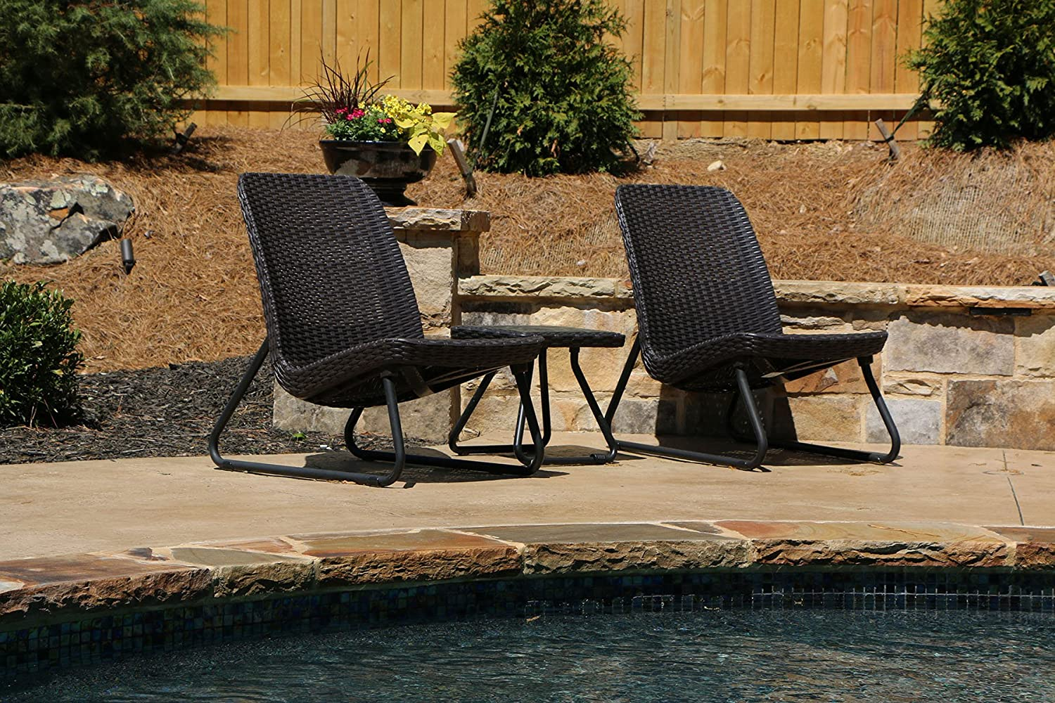 Keter rio 3 pc all weather outdoor patio garden conversation chair table set furniture brown amazon ca patio lawn garden