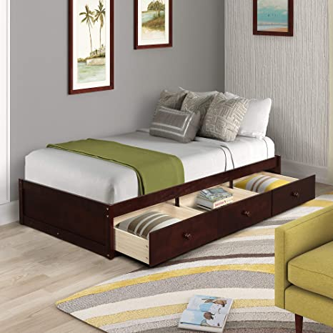 natural color NdFvS01-td Solid Hardwood Cantilever Platform Bed with 3 drawers on one side and trundle on other side and Slanted Head Board