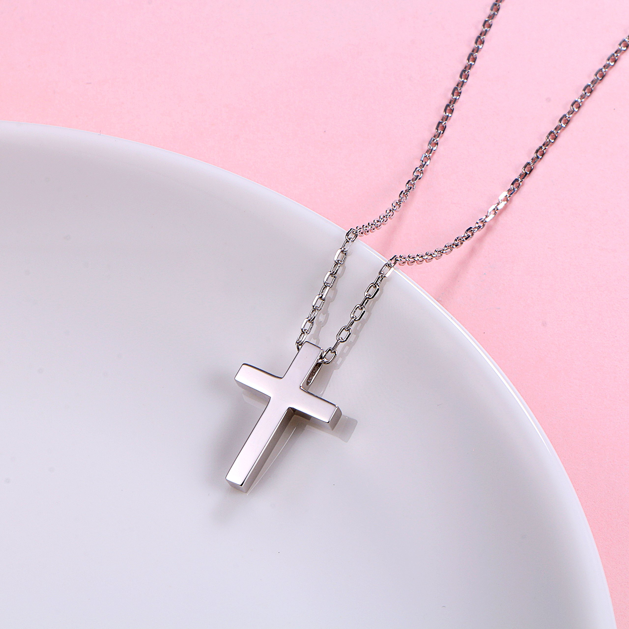 ALPHM S925 Sterling Silver Small Cross Pendant Necklace for Children Girl Baby boy 16'' Chain by ALPHM (Image #4)