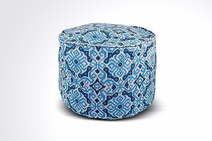 Fine Amazon Com Round Ikat Pouf Ottoman Blue White Ethnic Machost Co Dining Chair Design Ideas Machostcouk