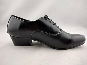 Vanlly Shoes Men's Black Leather Lace-up Dress Shoe Cuban Heel (9.5)