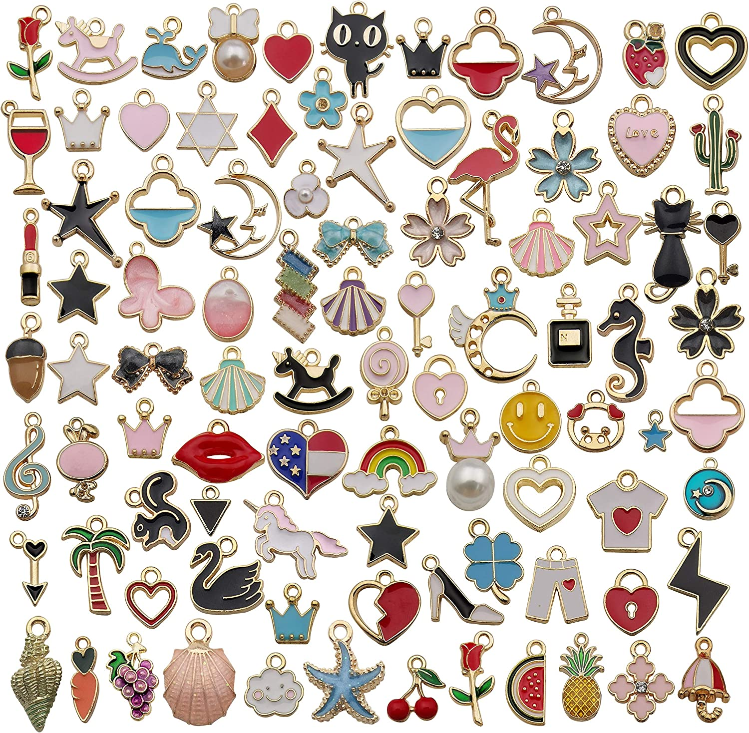 90pcs Mixed Assorted Gold Plated Enamel Animals Fruit Moon Star Dainty Flower Dangle Charm Pendant for DIY Jewelry Making Necklace Bracelet Earring DIY Jewelry Accessories Charms (M207)