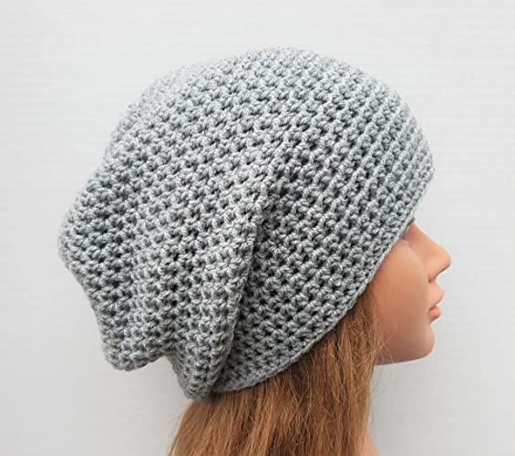 a05596d087f3c Image Unavailable. Image not available for. Color  Women s Grey Crochet  Slouchy Beanie Hat