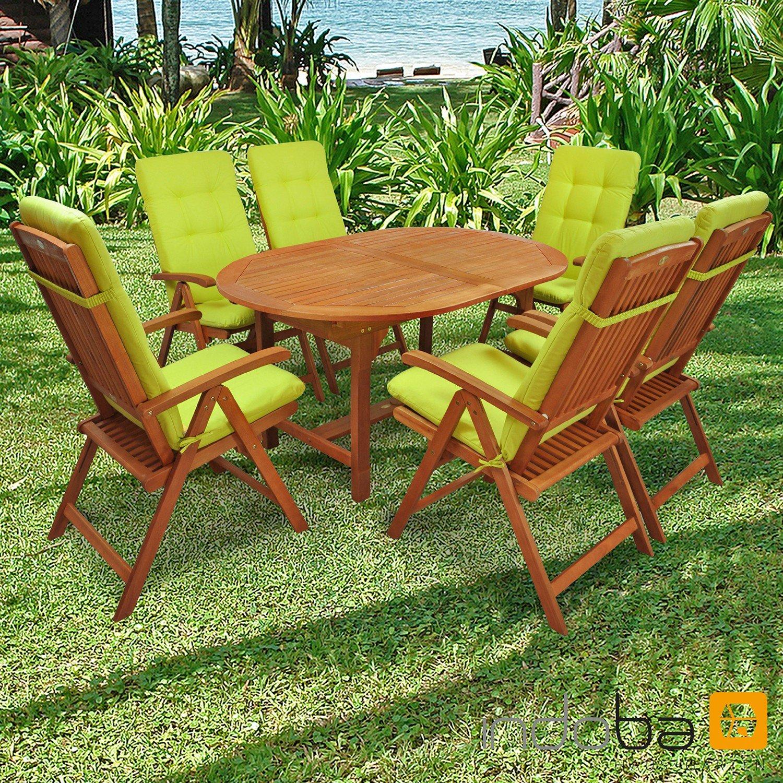indoba® IND-70310-SSSE7 + IND-70401-AUHL - Serie Sun Shine - Gartenmöbel Set 13-teilig aus Holz FSC zertifiziert - 6 klappbare Gartenstühle + 1 ausziehbarer Gartentisch + 6 Relax Sitzauflagen grün