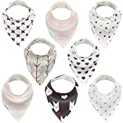 Kaydee Baby Dribble Drool Bandana Bibs, Unisex Gift Set for Drooling and Teething, 100% Cotton, Absorbent, Soft, Trendy, Hypoallergenic (8 Pack) For Boys and For Girls - Variety of Options Available