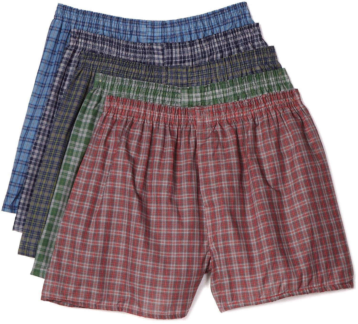 Fruit of The Loom Men's Woven Tartan and Plaid Boxer 5-Pack (Assorted Tartan, XX-Large/46-48 inches)